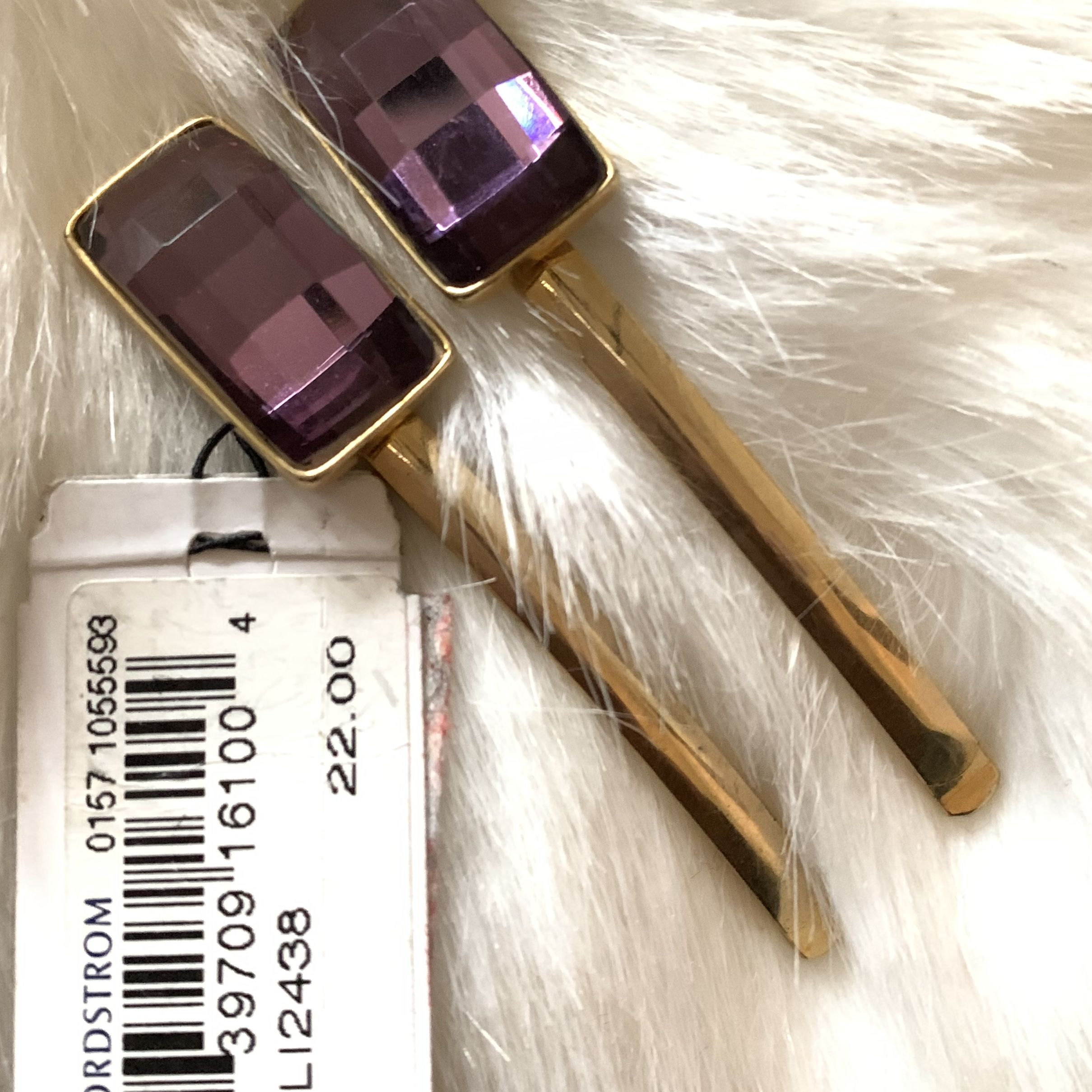 Amethyst and Gold Hair Barette Set