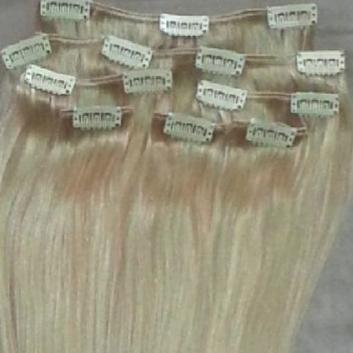 White Blonde (Slightly Golden) 7 pcs Clip-In Human Hair