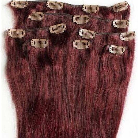 Burgundy Red 7 pcs Clip-In Human Hair