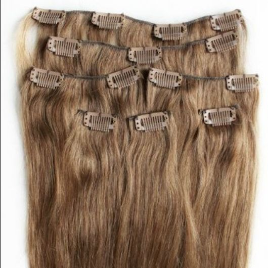 Light Brown 7 pcs Clip-In Human Hair