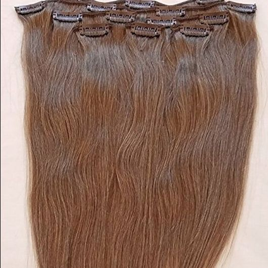 Ash Brown 7 pcs Clip-In Human Hair