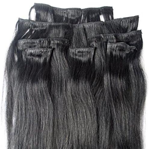 Jet Black 7 pcs Clip-In Human Hair