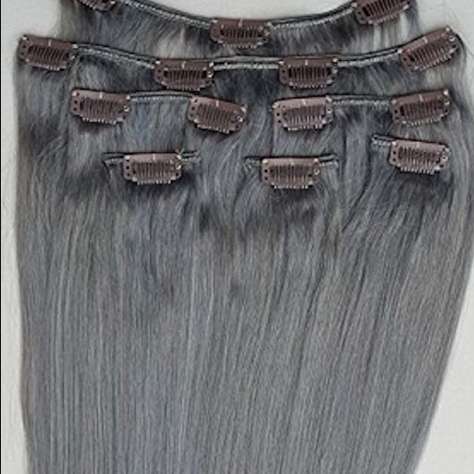 Dark Silver 7 pcs Clip-In Human Hair